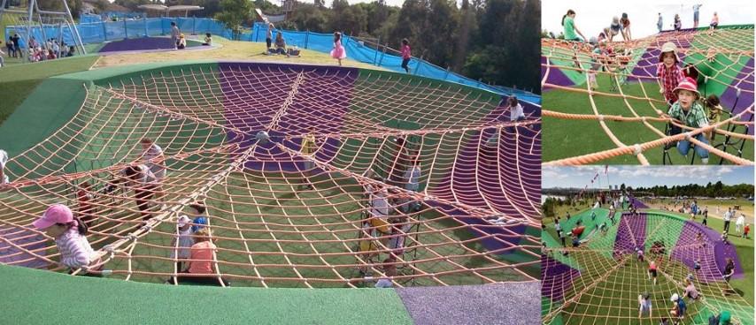 澳洲超級遊樂場,親子通山跑, 蜘蛛式繩網