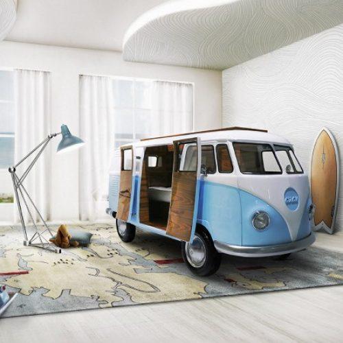 """限量版""""Volkswagen""""兒童床‧內置電視、水吧、sofa…"""