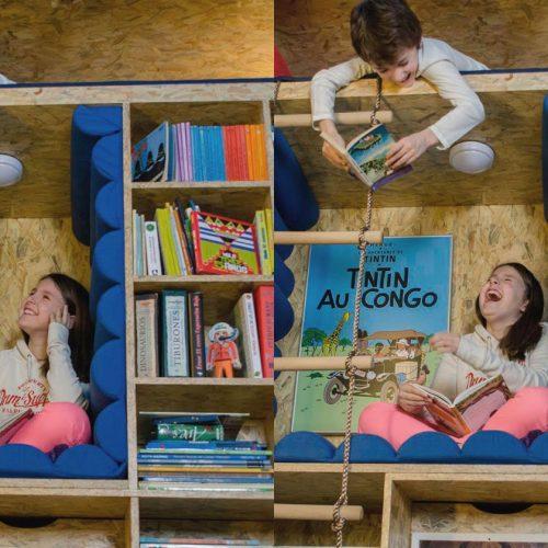 書櫃新設計 ‧ 俾小朋友「捐」入去刨書
