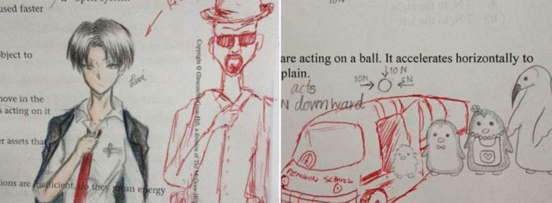 有學生喜歡在考卷上塗鴉,沒想到老師竟然「用紅筆幫他完成了」!